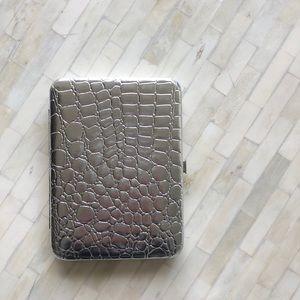 Silver faux skin clutch wallet